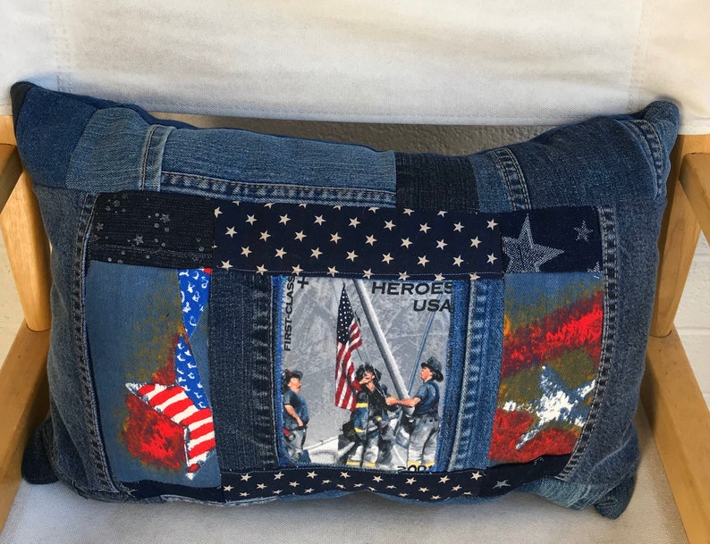 9/11 Tribute Pillow  Patchwork Repurposed Denim Pillow  image 0