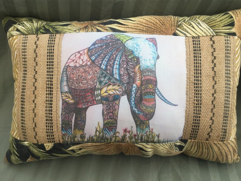 Colorful   Zentangle Inspired OOAK  Quilted Elephant Pillow image 0