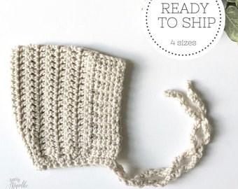 Linen - ELLIOT - crochet pixie baby bonnet - READY to SHIP