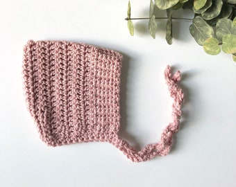 Blush - ELLIOT - crochet pixie baby bonnet - MADE to ORDER