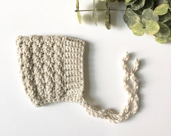 linen - BELL crochet pixie baby bonnet - MADE to ORDER