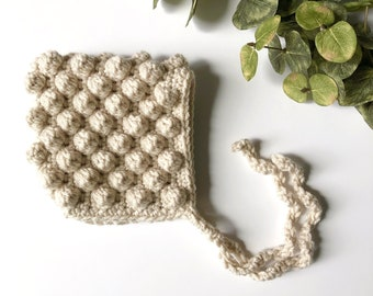 Linen - PERRY crochet pixie baby bonnet - MADE to ORDER