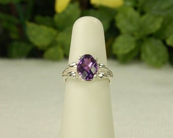 Amethyst Ring, Size 5, Purple Amethyst, Checkerboard Cut, Sterling Silver, February Birthstone, Natural Amethyst, Oval Amethyst Ring