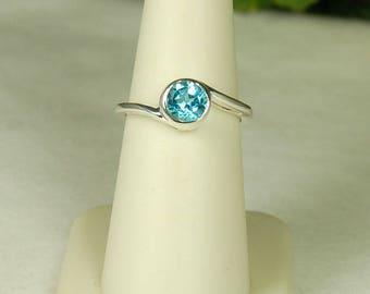Blue Topaz Ring, Size 8, Bright Blue, Sterling Silver, Swiss Blue Topaz, December Birthstone, Blue Solitaire, Round Blue Topaz, Swiss Blue