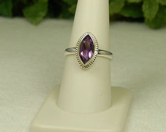 Amethyst Ring, Size 8, Sterling Silver, Marquise Amethyst, Purple Amethyst, February Birthstone, Natural Amethyst, Purple Marquise