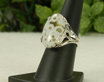 Ocean Jasper Ring, Size 8, Moss Green, Creamy White, Orb Pattern, Large Oval Ring,  Natural Jasper, Green White Gemstone