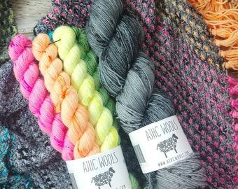 RTS Blaise Shawl Kit Basic Sock Mini Skeins Mosaic Colorwork Knitting