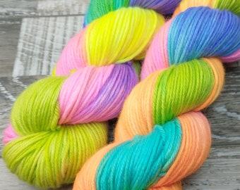 RTS Neon Rainbow SW DK Light Worsted Yarn Superwash Merino Wool Yarn Hot Pink Aqua Blue Yarn Lime Green Bright Purple Yarn Rainbow