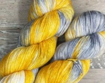 RTS Rags to Riches Signature Series Basic Sock Fingering Yarn Superwash Merino Wool Yarn Golden Yellow Yarn Gray Grey Yarn Variegated