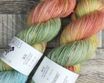 RTS Lovebirds Signature Series SW DK Light Worsted Weight Yarn Pastel Baby Blue Yarn Green Yellow Yarn Coral Speckle