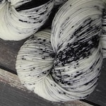 RTS Extra! Extra! Mythical Gods Collection Basic Sock Fingering Weight Sock Yarn White Black Speckles Superwash Merino Wool Nylon