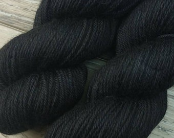 RTS Midnight Yak Silk DK Yarn Light Worsted Weight Superwash Merino Wool Silk Yak Yarn Solid Black Yarn
