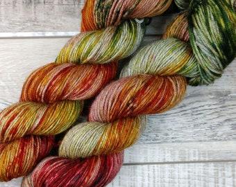 RTS October in Michigan Yak Silk DK Yarn Light Worsted Weight Superwash Merino Wool Silk Yak Yarn Red Orange Yellow Green