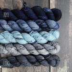 RTS Cold Snap Fade Mini Skeins 5 Color Mini Set Slate Blue Gray Gray Speckle Tonal Semi Solid Mythical Gods Collection