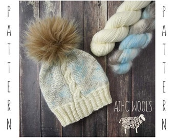 PDF Bare Cable Hat Knitting Pattern Digital File Only