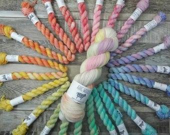 PREORDER Rainbow of Hope Kit Fingering Weight Yarn Basic Sock Pastel Rainbow Fade Micro 340g 1564yds