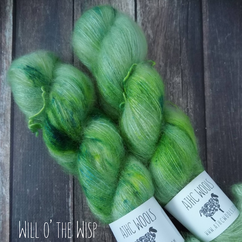 RTS Fortuna Will o/' the Wisp Lace Mohair Silk Halo Mythical Gods Collection Green Speckle Semi Solid Tonal