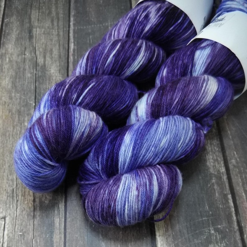 Blueberry Ice Cream Fingering Basic Sock Yarn Superwash Merino image 0
