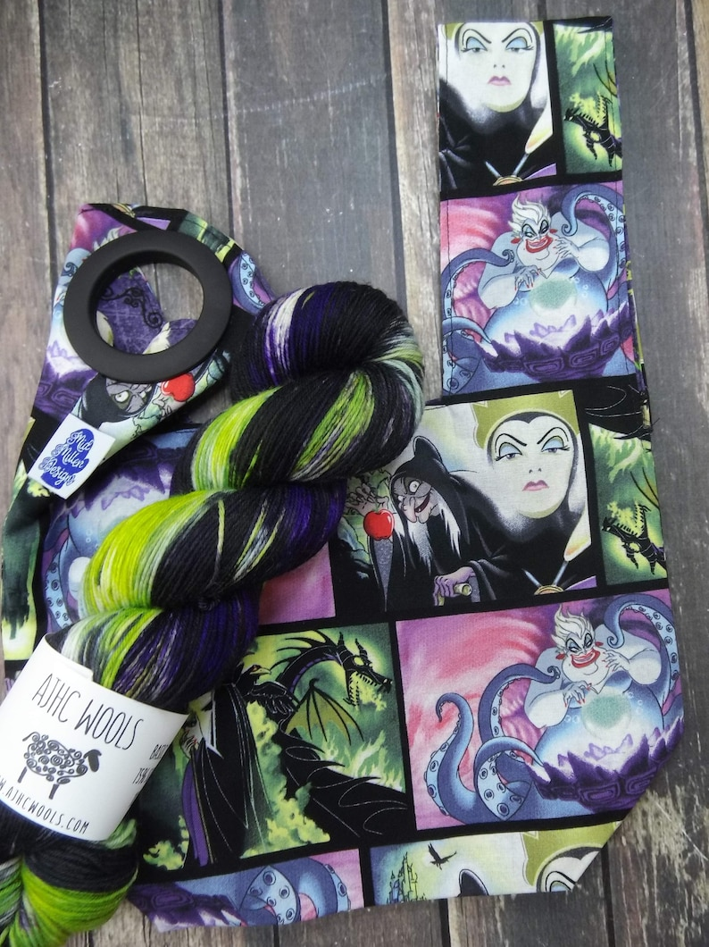 RTS Maleficent Reboot Yarn  Project Bag Square Knot Bag Green image 0