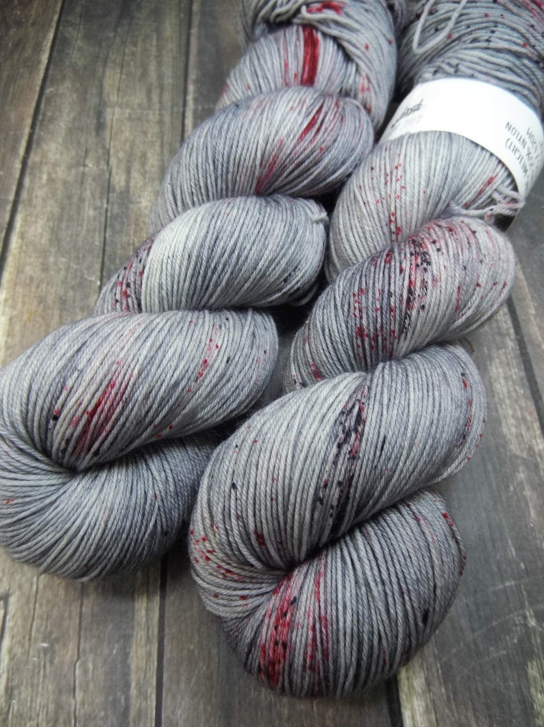 PREORDER Blood Spatter Fingering Basic Sock Yarn Superwash Basic Sock