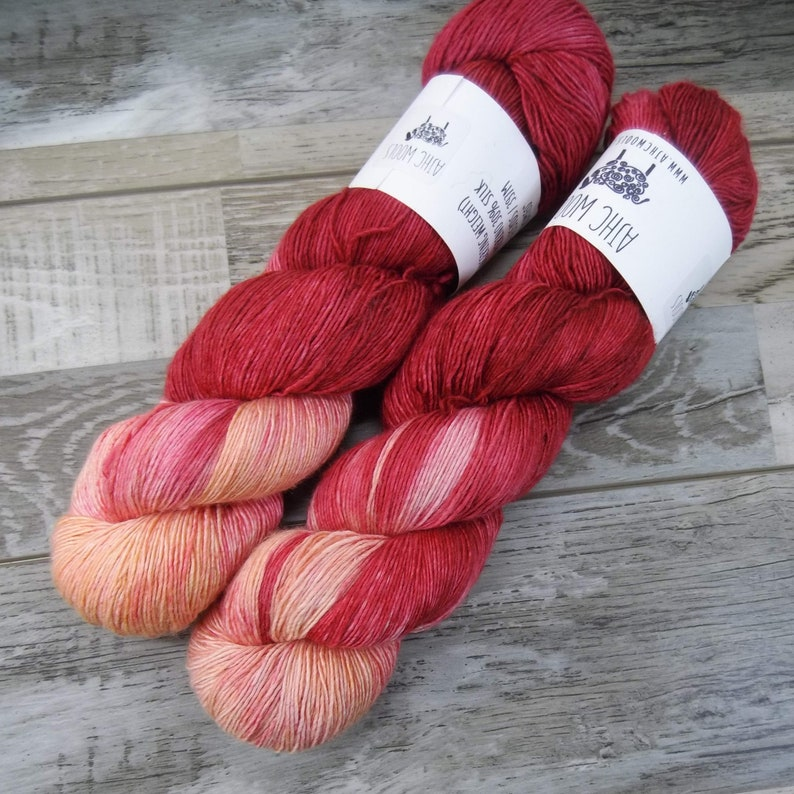 RTS Romeo Sultry Single Fingering Weight Yarn Red Orange image 0