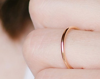 Gold Knuckle Ring - Dainty Gold Ring - Thin Gold Ring - Dainty Stacking Ring  - Midi Ring - Thin Gold Band - Gold Fill - Ring Sized 2 - 14