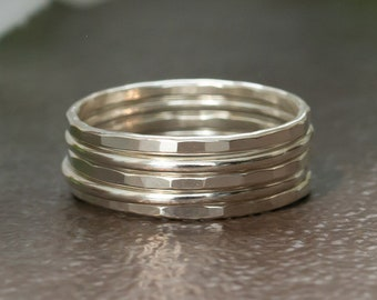 Silver Stacking Rings - Sterling Silver Ring Set - Silver Hammered Rings - Stacking Ring Set - Stacking Rings Sterling Silver - Womens Gift
