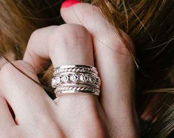 Boho Stacking Rings - Sterling Silver Stacking Ring Set - Big Silver Rings for Women - Womens Silver Rings - Boho Rings - Ring Size 6 - 14