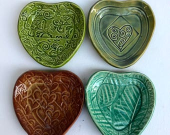Set of 4 Heart Shaped Dipping dishes, small dishes, sauce dishes, stamped dish, Heart dishes