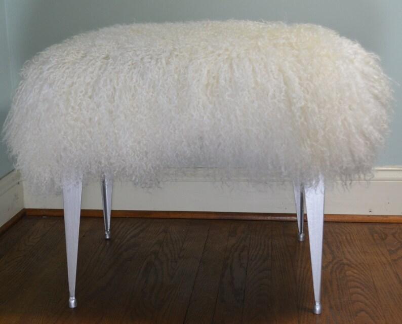 Wondrous Mongolian Lamb Bench Stool Vanity Seat Ottoman Tibet Wool Fur New Silver Legs Sheepskin Andrewgaddart Wooden Chair Designs For Living Room Andrewgaddartcom