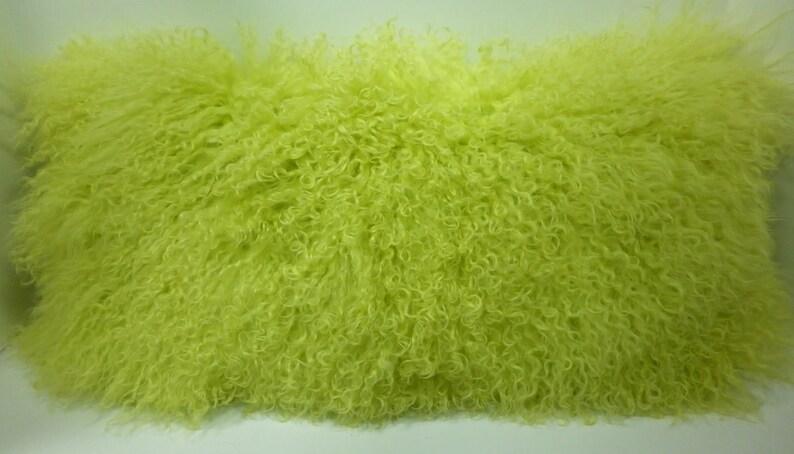 Lemon Lime Mongolian Lamb fur Pillow Tibet new made in usa authentic cushion