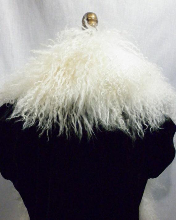 made in the U.S.A. Wrap Black Mongolian Tibetan Lamb Fur  Collar Vest