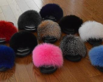 Real Fur Slide  Fox Sandals  Slippers Slides New