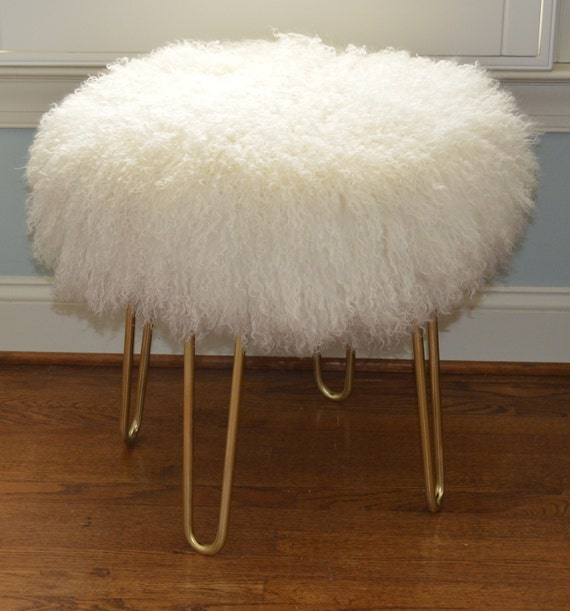 Phenomenal Real Natural White Mongolian Lamb Fur Stool Tibet Bench Brass Legs Made In Usa New Sheepskin Ottoman Squirreltailoven Fun Painted Chair Ideas Images Squirreltailovenorg