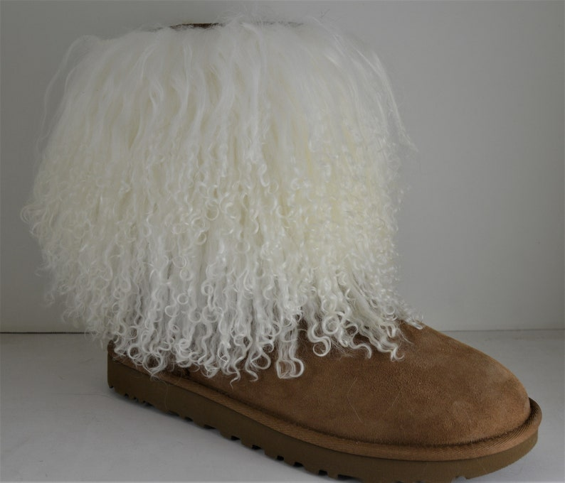 760c284f427 Mongolian lamb Fur boot cuff detachable Natural white cuffs New made in usa  tibet