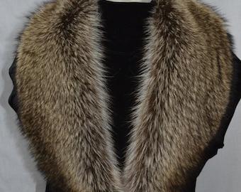 Real Genuine American Raccoon  detachable Fur Collar new made in usa