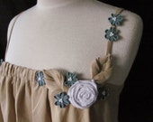 Woodland Camisole, Embellished Ruffle Singlet with Kanzashi Flowers Rose, Boho Ruffle Top (size 10-14 or custom size)