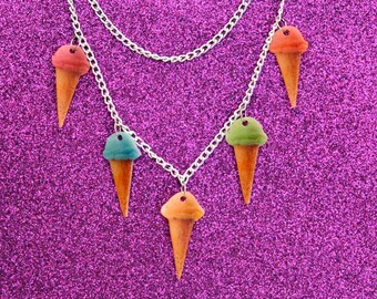 Ice Cream Cone Necklace / Kitschy Pastel Ice Cream / Layered Necklace