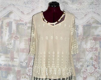 Sale Vintage embroidered Sheer mesh with Teardrop Lace trims Top
