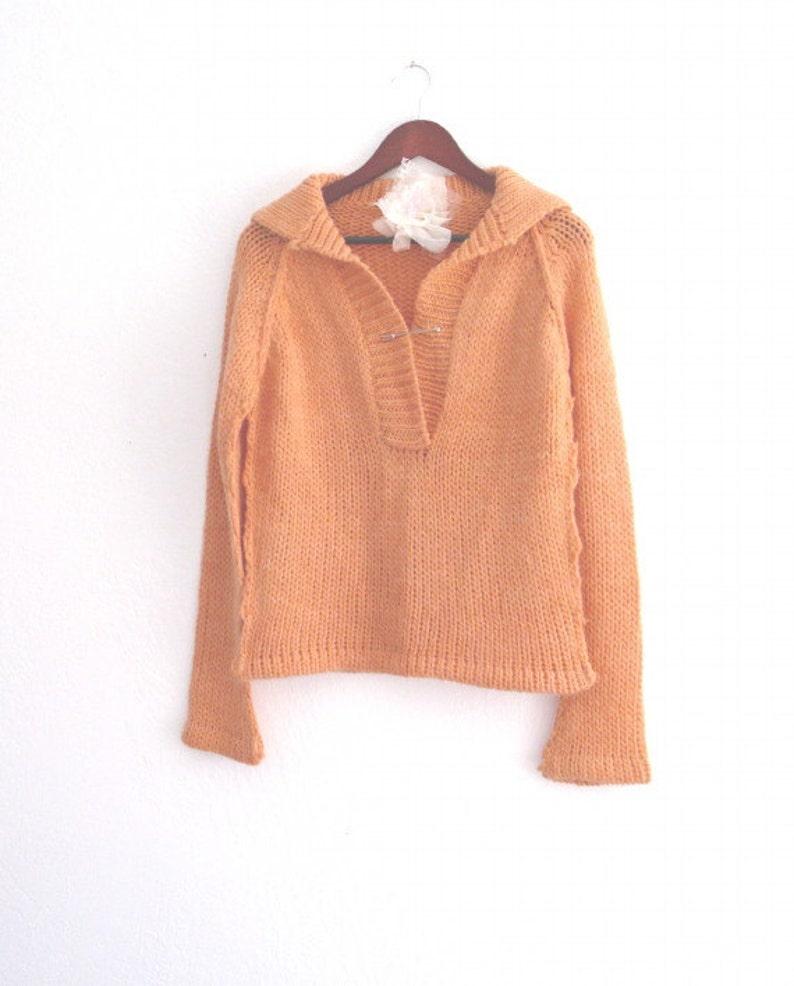 Sale Pastel Orange Knit Sweater