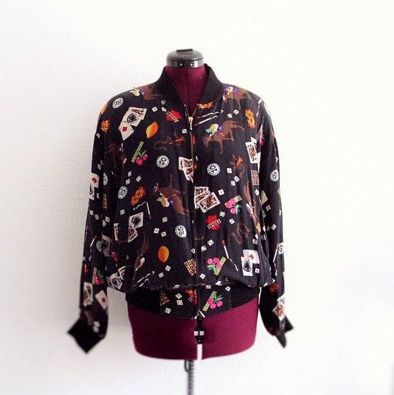 Sale Unisex 1980's Silk Bomber Jacket
