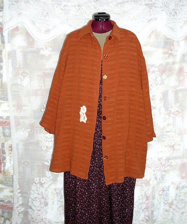 Sale 40/% off Woven Linien Boho Shirt Jacket  Plus Size #KheGreen #Eco Fashion