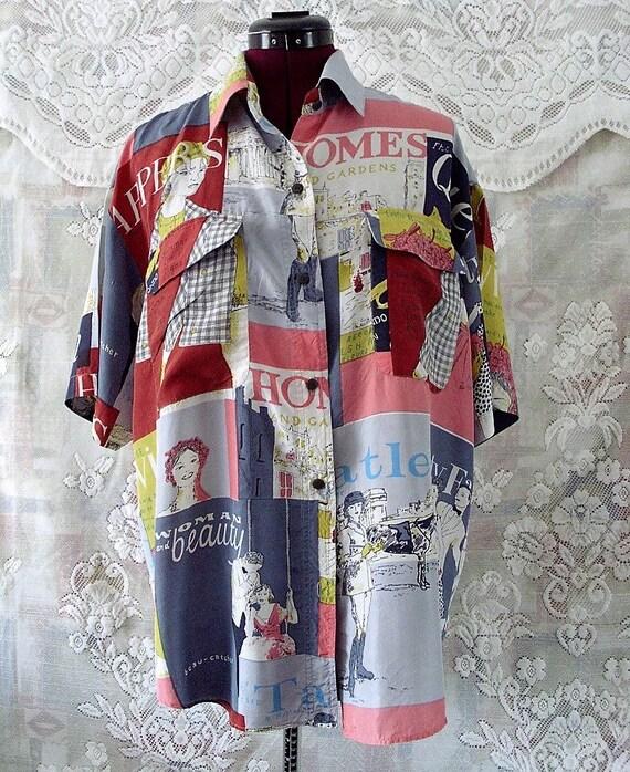 Vintage novelty print silk shirt Free Shipping