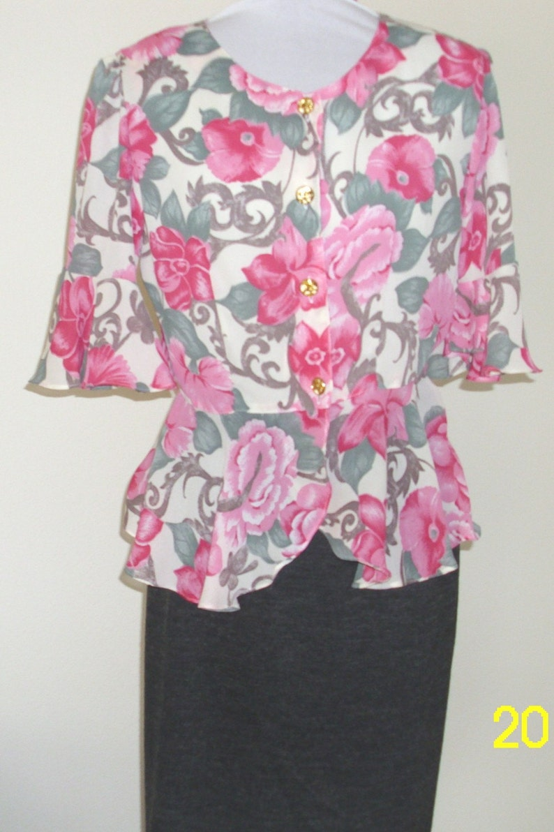Moving Sale Romantic Lavander Floral Peplum Chiffon Blouse