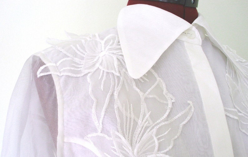 White organza floral appliqué blouse etsy