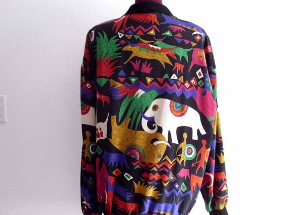 Vintage 80's Novelty Print Blouse Free Shipping