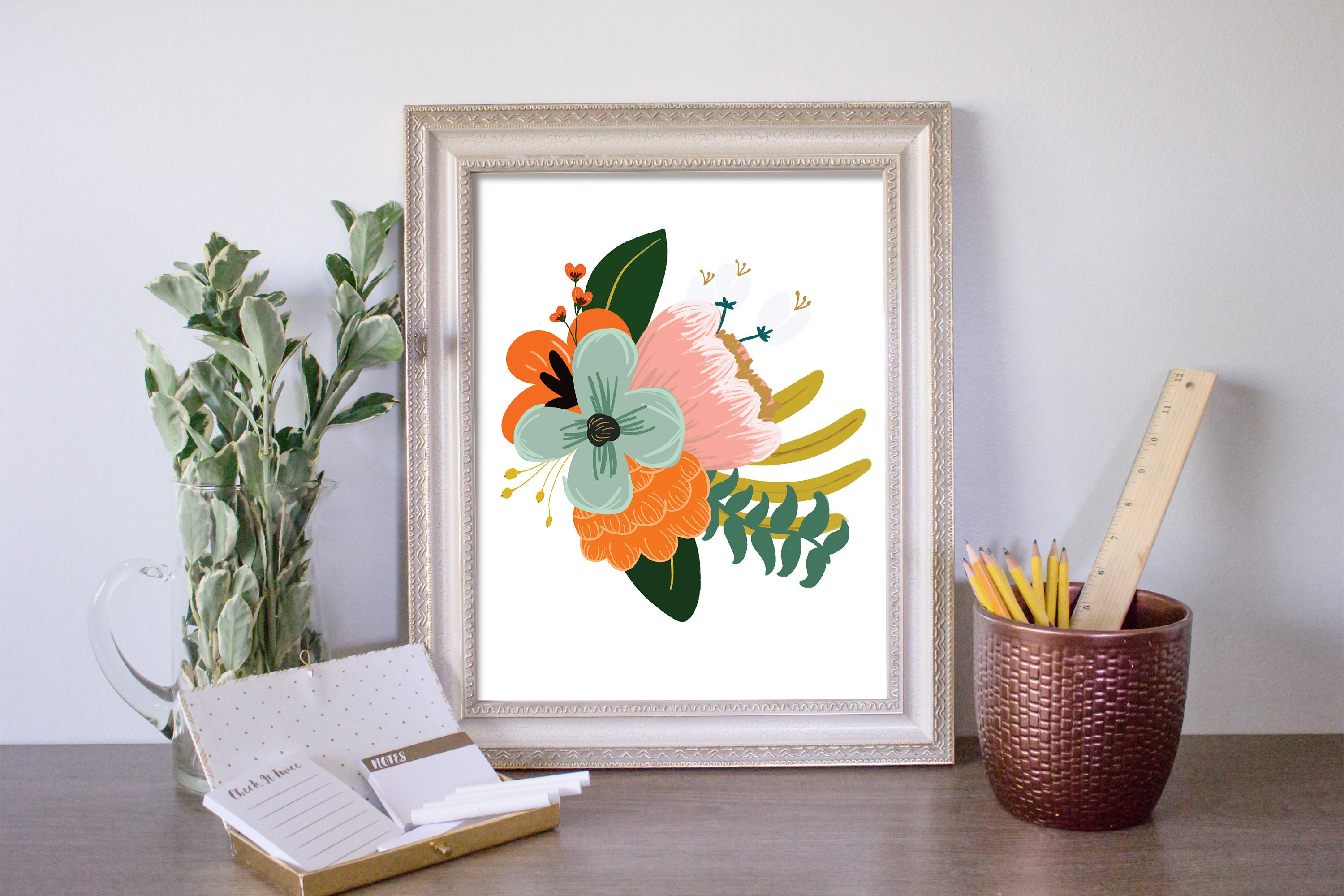 Blush And Mint Floral Wall Art Floral Art Print Floral Wall Etsy - Decorative-floral-print-chairs-from-floral-art