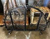 Original Antique Hand-Wrought Freestanding Spanish Revival Black Arched Iron Fireplace Screen With Working Doors