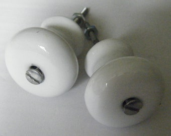 Large Antique White Porcelain Knobs //Made in Japan// Vintage Hardware set of two//Free Shipping