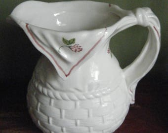 Shafford Pottery Large Basketweave Design Pitcher//Country  Cottage Kitchen Ware//Free Shipping